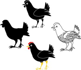 Set of different hens