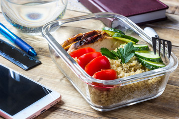 Fotobehang Assortiment Healthy meal prep containers with quinoa, chicken and arugula