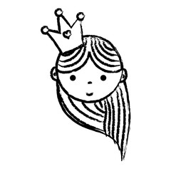 grunge happy woman head with crown and hairstyle