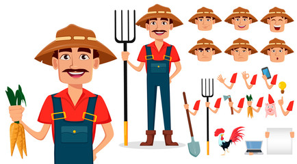 Farmer cartoon character creation set, pack of body parts and emotions
