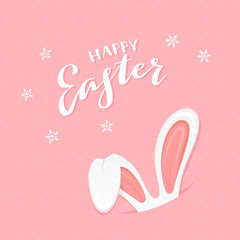 Pink background with rabbit ears and text Happy Easter