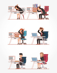 businesspeople avatars with work time elements vector illustration