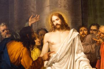 Venezia (Venice), Italy. 2 February 2018. The painting of Resurrected Jesus Christ with Thomas the apostle and other apostles by Sebastiano Santi in 'Chiesa dei Santi Apostoli' church.