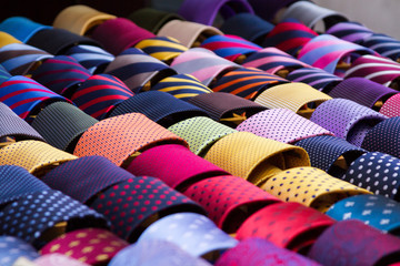 Colourful neck ties displayed at a shop