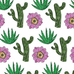 doodle nature cactus with flower and plant background