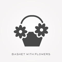 Silhouette icon basket with flowers