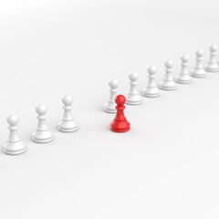 Leadership concept, red pawn of chess, standing out from the crowd of white pawns, on white background. 3D rendering.
