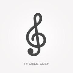 Silhouette icon treble clef
