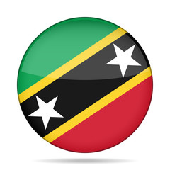 Flag of Saint Kitts and Nevis. Shiny round button.