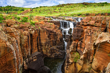 Canyon scenery with waterfalls of Bourkes Luck Potholes, South Africa