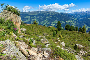 Austrian summer mountain landscape of the Zillertal High Alpine Road. Austria, Tyrol, Zillertal, Zillertal Valley.