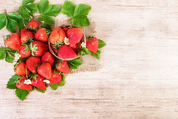 Fresh bright tasty strawberry close-up.Text space, top view.