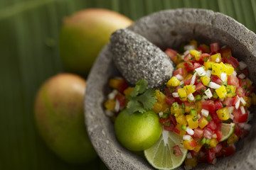 Salsa in Granite Bowl with Lime Cilantro and Papaya