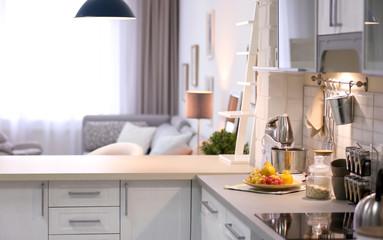Modern kitchen interior in stylish apartment