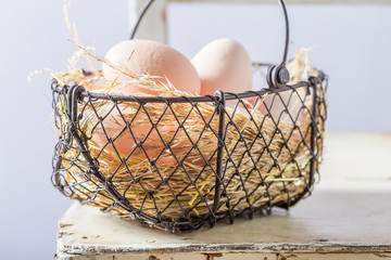 Good free range eggs in old basket