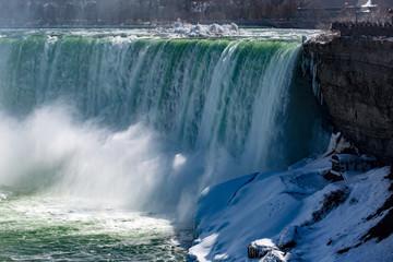 A frozen Niagara Falls in the spring time