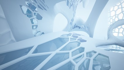 Abstract white and blue water parametric interior with window. 3D illustration and rendering.