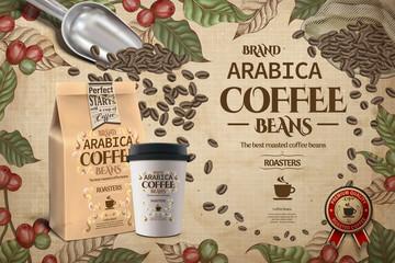 Elegant Arabica coffee beans ads