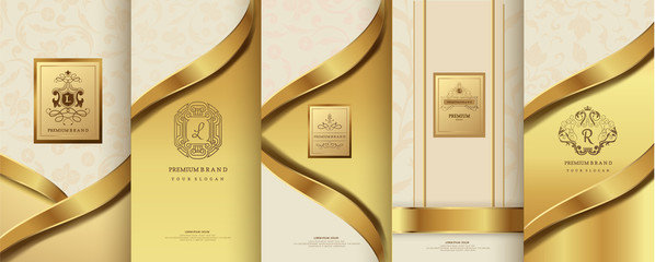 Collection of design elements,labels,icon,frames, for packaging,design of luxury products.for perfume,soap,wine, lotion. Made with golden foil.Isolated on flower background.vector illustration
