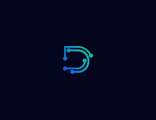 Abstract letter D Tech logo template