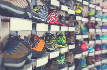 Image of large selection of sport shoes in shop