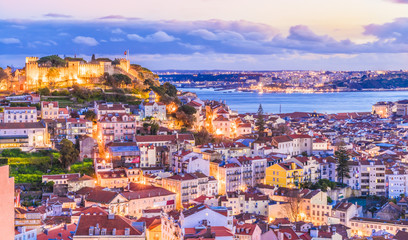 Cityscape of Lisbon at twilight, Portugal Wall mural