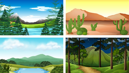 Four nature scenes with tree and mountains