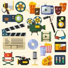 Editable Cinema Vector Illustration Icons Set
