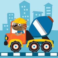 mixer truck cartoon with cute driver