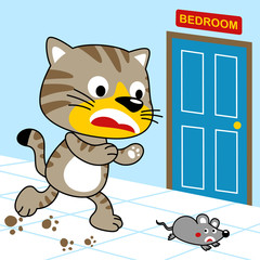 cat hunting a mouse in a home, vector cartoon illustration. Eps 10