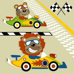 Car racing with animals cartoon. Eps 10