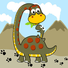 Dino family cartoon. Eps 10