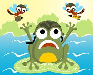 Funny war cartoon, frog versus dragonflies. Eps 10