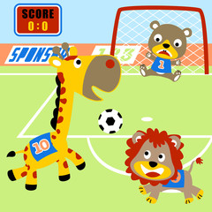 Animals cartoon playing soccer. Eps 10
