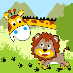 Giraffe and lion cartoon. Eps 10
