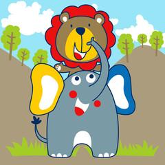 Nice elephant and lion cartoon. Eps 10
