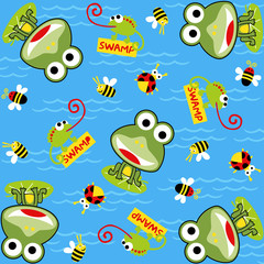 pattern vector with frog and little animals cartoon. Eps 10