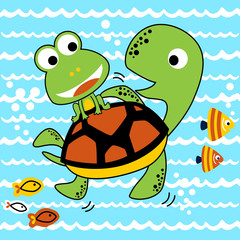 exploring underwater with turtle and little friends, vector cartoon illustration. Eps 10