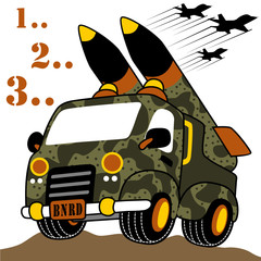 Military vehicles cartoon. Eps 10