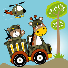 animals cartoon with military vehicles. Eps 10