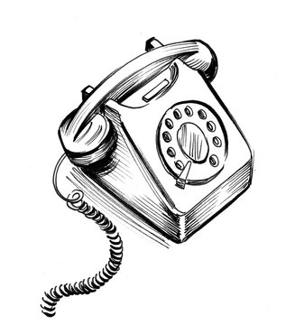 Ink black and white illustration of a retro telephone