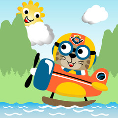 cute pilot on water plane cartoon at summer. Eps 10