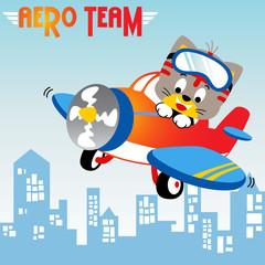 funny pilot cartoon on plane. Eps 10