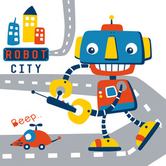 Playing robot cartoon. Eps 10