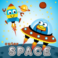 funny spacecraft cartoon. Eps 10