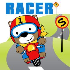 Animal biker cartoon. Eps 10