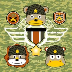 Animals soldier cartoon. Eps 10