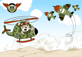 Airforce cartoon with cute helicopter pilot. Eps 10