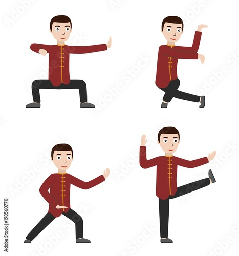 Man performing qigong or taijiquan exercises  Man practicing