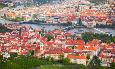 Aerial view of old Prague in summer day